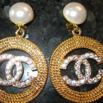 Authentic Dangle Chanel earings  with crystal CC's and Pearl Photo