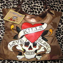 Authentic Ed Hardy Purse Bag Tote Love Kills Slowly - New With Tags Photo