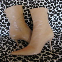 Authentic Jimmy Choo Beige Tan Heels Leather Boots 39.5 - Us 8.5 / 9  Photo