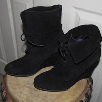 Authentic Zara Suede Wedge Black Boots 39 - Us 8.5  Photo