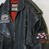 Bad a Destressed Black (Racing) Leather Jacket L-Xl Photo