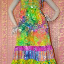 Batik Gypsy Hippie Patchwork Peace Sing Dress Photo