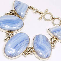 Bb125 Blue Lace Agate 925 Sterling Silver Bracelets Photo
