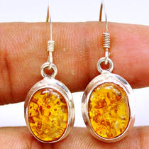 Be101 Amber 925 Sterling Silver Earring Photo