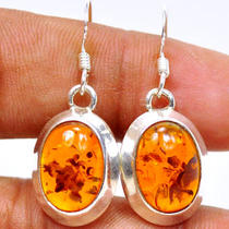 Be103 Amber 925 Sterling Silver Earring Photo