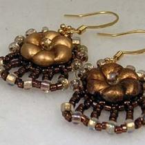Beadwoven Vintage Brass Flower Earrings Photo