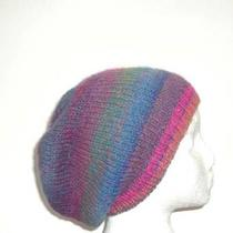 Beanie Beret Slouch Colorful Wool Blend Knitted Hat Photo
