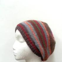 Beanie Beret Slouch Hat Hand Knit Multicolor Wool Blend  Photo