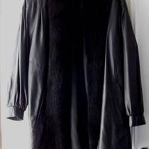 Beautiful 100% Lamb Leather Coat Trimmed in Dyed Black Fox Sz. Small Photo