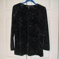 Beautiful Black Velvet-Like Pant Set With Silver Sparkles Petite Med. Photo