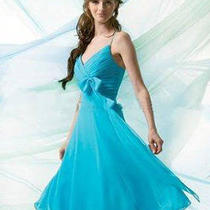 Beautiful Blue Chiffon Dress by B2 Size 10 Photo