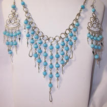 Beautiful Bohemian Style Aqua cat&39s Eye Necklace and Earring Set  Free Shipping Photo