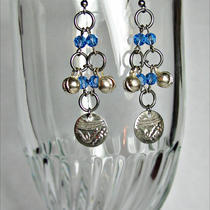 Bellydance Earrings Bell and Coin Sapphire Blue Silver Chainmail Chainmaille Photo