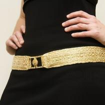 Belt  With Vintage Rhinestone Buckle - Hand Woven - Gold Photo