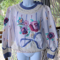 Berek New York Wonderful Vintagehand Knit3d Floral Sweater(p)  Photo