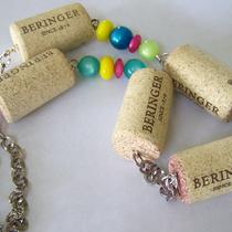 Beringer Wine Cork Necklace With Vintage Lucite Beads and Antiqued Silver Chain Photo