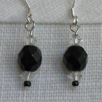 Black and Clear Beaded Earrings Photo