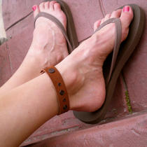 Black and Tan Leather Bracelet/anklet Photo