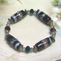 Black and Teal Lampwork Bracelet Photo