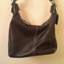 Black Coach Leather Shoulder Bag  Photo