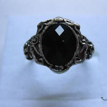 Black Cz Tibetan Silver Ring Photo