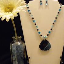 Black & Teal Druzy Agate Geode Pendant With Cracked Glass and Crystal Necklace and Earring Set Set Photo