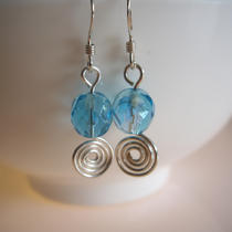 Blue Crystal and Sterling Silver Earrings Photo