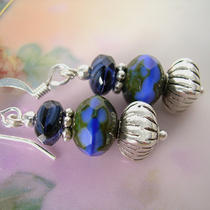 Blue Delight - Picasso Bead Earrings Photo