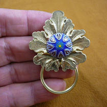 Blue Gold White Yellow Flower Starburst Czech Glass Button Leaf Repro Victorian Brass Eyeglass Pin Pendant Id Badge Holder E-790 Photo