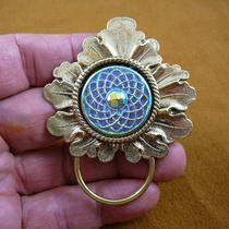 Blue Iridescent Spiral Spiro Czech Glass Button Leaf Repro Victorian Brass Eyeglass Pin Pendant Id Badge Holder E-783 Photo