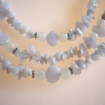 Blue Lace Agate Three Strand Necklace Photo