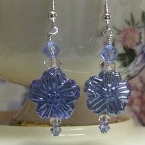 Blue Pressed Glass Flower Earrings Photo
