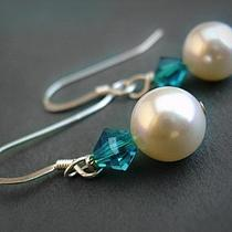 Blue Swarovski Crystal and Pearl Sterling Silver Earrings -Clare Ready to Ship Photo