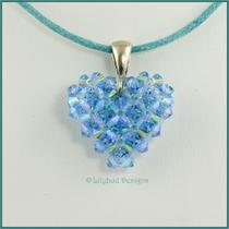 Blue Swarovski Crystal Heart Necklace Photo