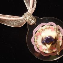 Blueberry Cheesecake on China Plate With Fork on Ribbon Necklace Ooak Photo