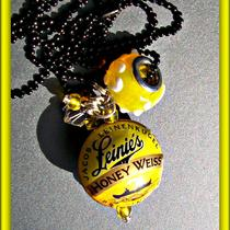 Bottle Cap Bead Necklace - leinie&39s Honey Weiss - Hard to Find (11965) Photo