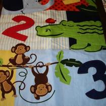 Boy Baby Blanket PATCH WORK with Monkeys, Elephant, 1,2,3, and a alligator with a Satin Trim Photo