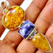 Bp90 Amber &ampamp Indian Sapphire 925 Sterling Silver Pendent Photo