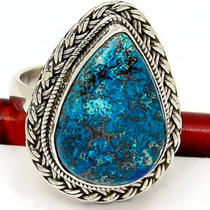 Br373 Azurite Malachite 925 Sterling Silver Ring Photo
