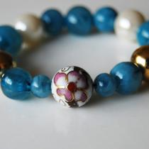 Bracelet Pearl Glass Bead Handmade Teal White Gold and Hand-Painted Flower Bead Photo