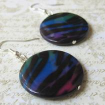 Bright Zebra Stripe Round Shell Earrings - Large Photo