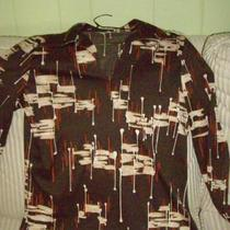 "Brown ""paint brush stroke"" collared shirt Photo"