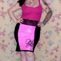 Candy Pink Vinyl Black Panel Skirt Rockabilly Psychobilly Photo