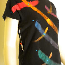 Capped Short Sleeve Round Neck Hand Painted Black and Multicolor Rainbow Roy G Biv Cotton Womans Mens Top Shirt Photo