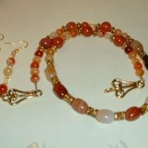 Carnelian Necklace and Earring Set Photo