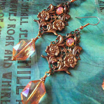 Champagne and Roses - Filigree Fire Opal and Crystal Earrings Photo