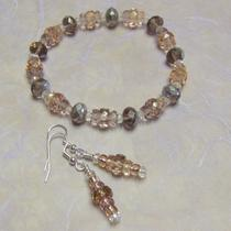 Champagne Crystal Bracelet & Earring Set Photo