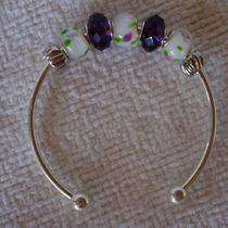 Charming Silver Pandora Like Purple and White W/pink Flowers on a 20cm Bangle Bracelet Photo