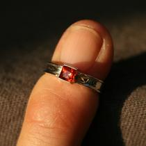 Childs Sterling Silver and Princess Cut Red Orange Sapphire Ring Sz 2 Photo