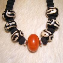Chunky Ethnic Necklace of Lava Batik Bone and Resin - African Queen Photo